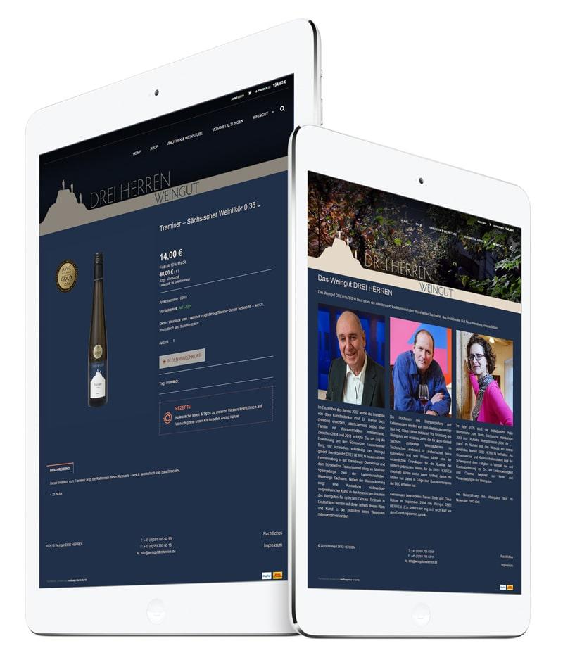 Weingut Drei Herren Onlineshop Relaunch