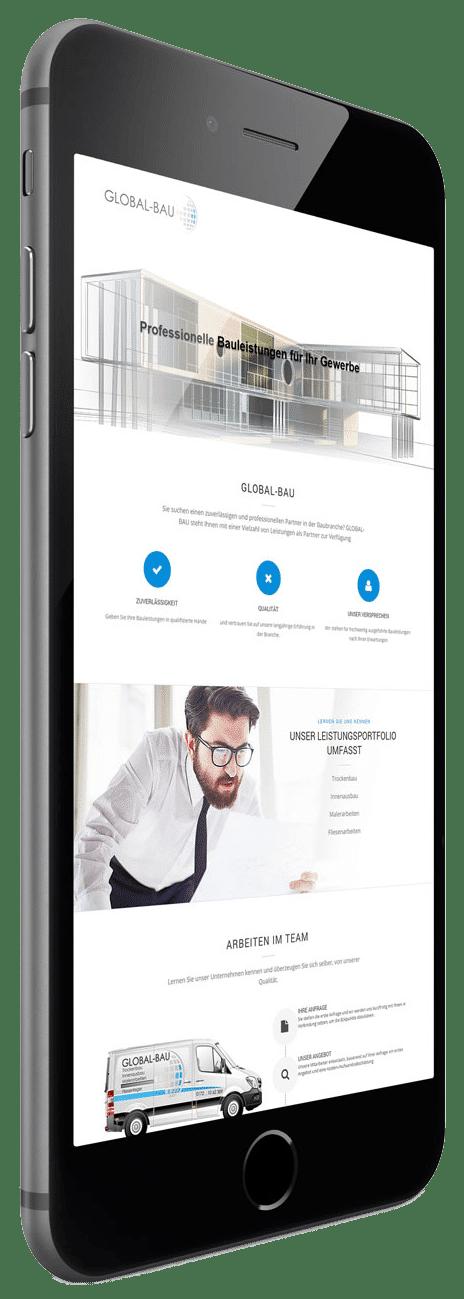 Internetseite für die Firma Global-Bau. Layout und Umsetzung durch die mediaagentur-in.berlin