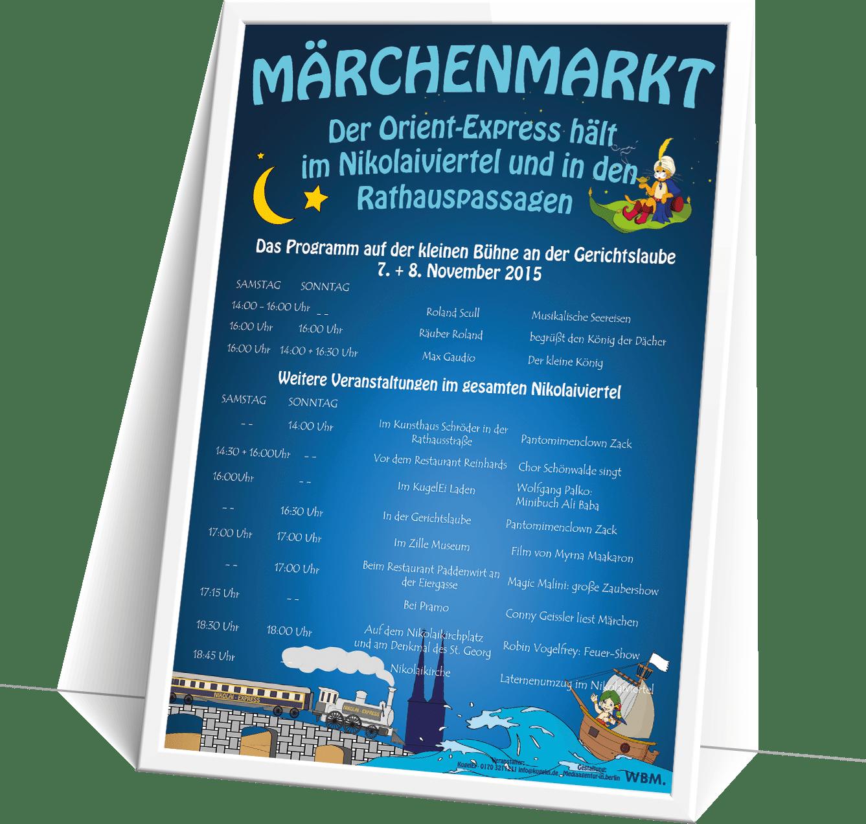 Illustration, Layout und Druckstücke für den Märchenmarkt im Nikolaiviertel durch die mediaagentur-in.berlin