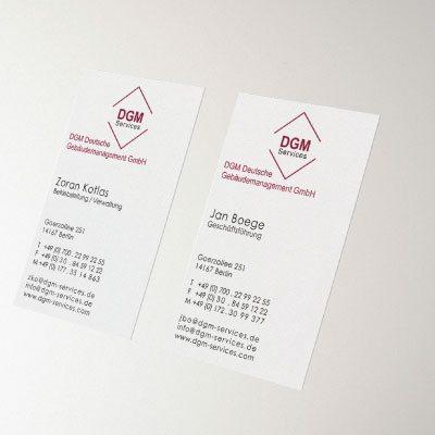 Geschäftsiusstattung und Logoentwicklung für die DGM Deutsche Gebäudemanagement GmbH durch die mediaagentur-in.berlin